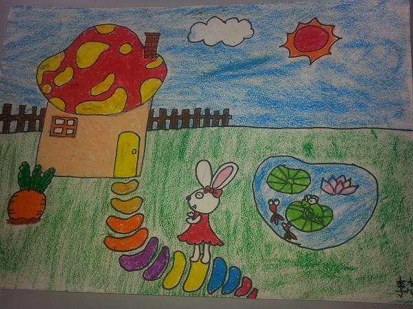 油画棒作品《小白兔的家》
