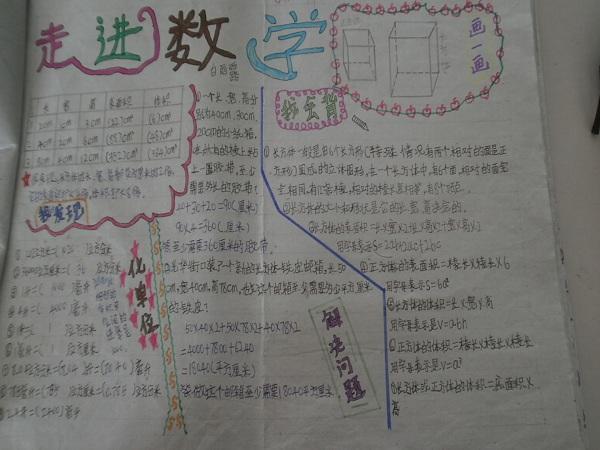 彩绘数学手抄报 开辟学习新园地